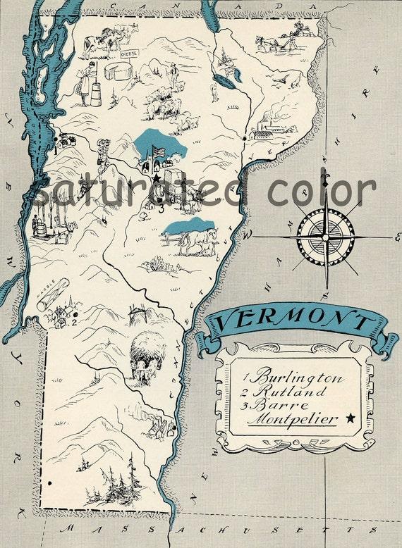 Vermont Map 1931 ORIGINAL Vintage  Picture Map - Antique Vermont Map - Charming Teal Aqua - Burlington Rutland Barre Montpelier RARE USA Map