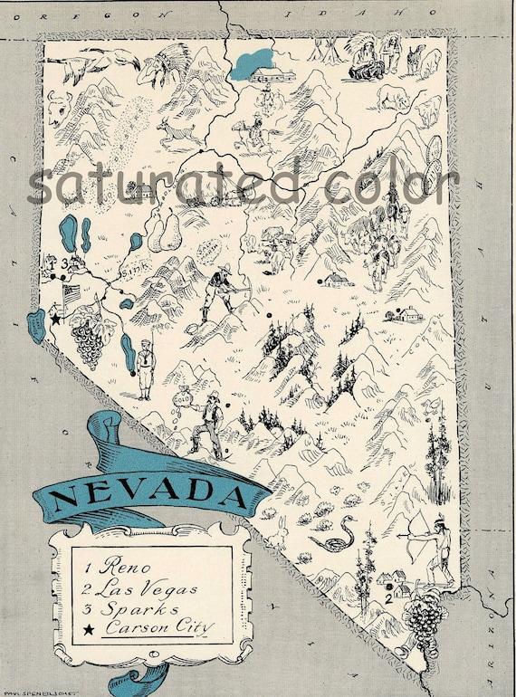 Nevada Map 1931 ORIGINAL Vintage  Picture Map - Antique Nevada Map - Charming Teal Aqua - Reno Las Vegas Sparks Carson City - RARE USA Map