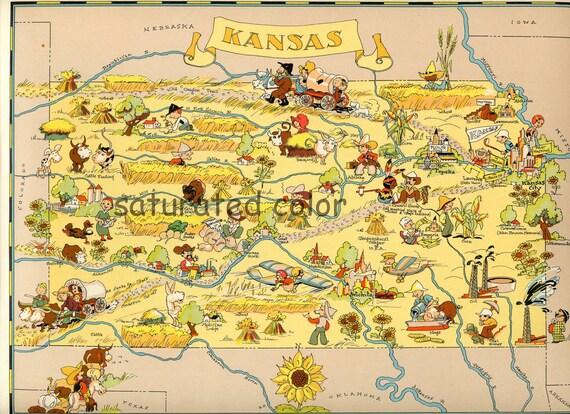 kansas map original 9 x 13 vintage 1930s antique picture map