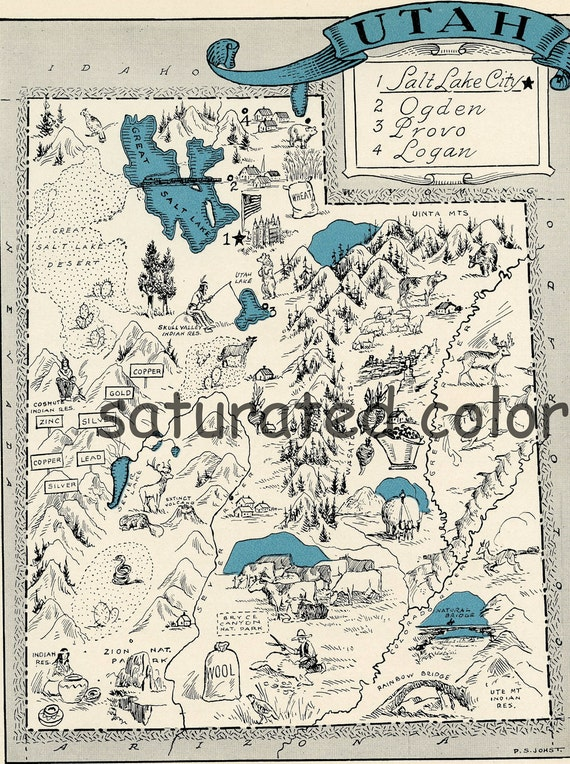 Utah Map 1931 Original Vintage Picture Map Antique Utah Map