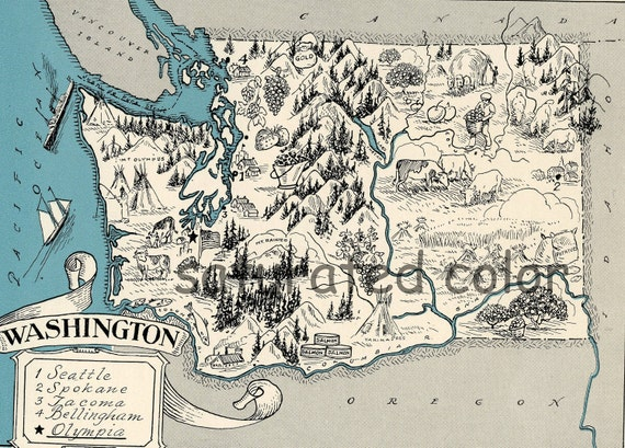 Washington Map 1931 ORIGINAL Vintage Picture Map - Antique Charming Teal Aqua - Seattle Spokane Tacoma Olympia Bellingham - RARE USA Map