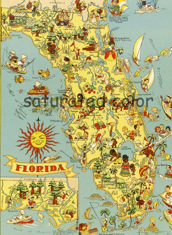 Florida Map Vintage - 1930s Fun & Colorful Picture Map