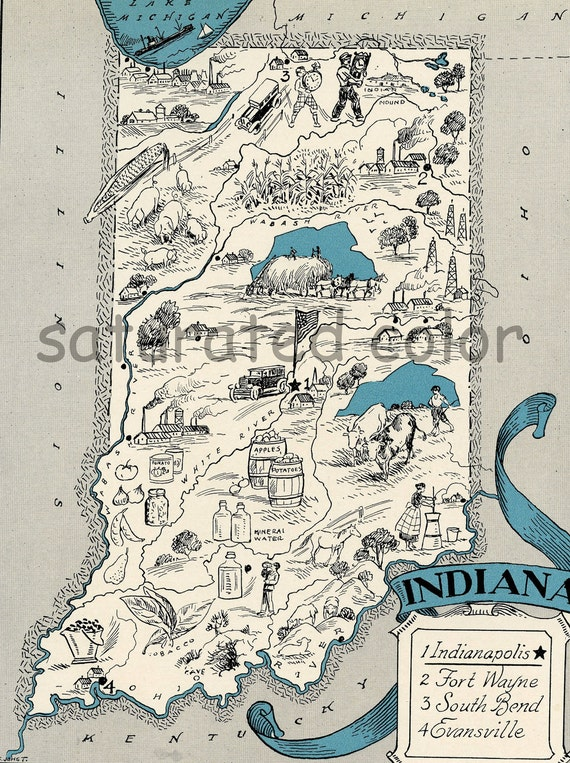 Indiana Map 1931 ORIGINAL Vintage  Picture Map - Charming Antique Map Teal Aqua - Indianapolis Fort Wayne South Bend Evansville RARE USA Map