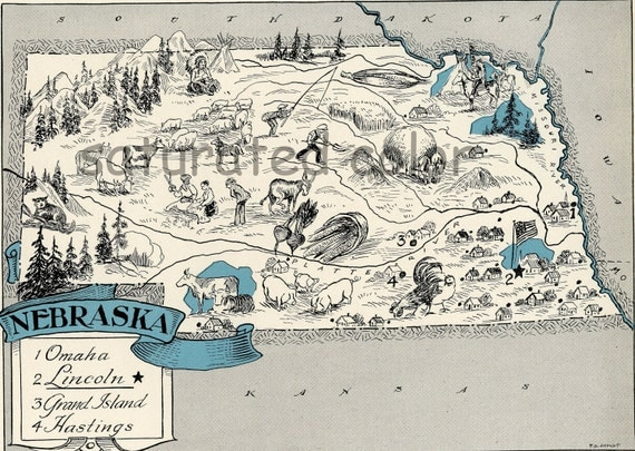 Nebraska Map 1931 ORIGINAL Vintage  Picture Map - Antique Map - Charming - Teal Aqua - Omaha Lincoln Hastings Grand Island RARE USA Map