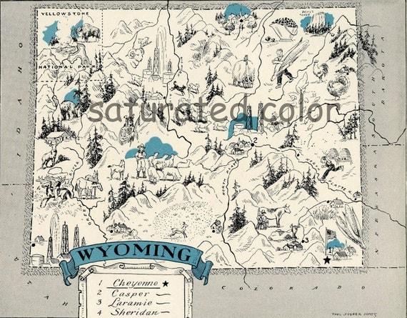 Wyoming Map 1931 ORIGINAL Vintage  Picture Map - Antique Wyoming Map - Charming Teal Aqua - Cheyenne Casper Laramie Sheridan - RARE USA Map