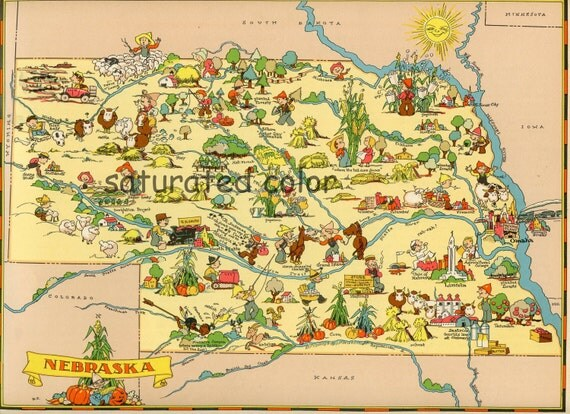 Nebraska Map ORIGINAL 9 X 13 Vintage 1930s Antique Picture Map - Ruth Taylor White - Omaha Lincoln Bellevue Hastings Kearney Blair Souvenir