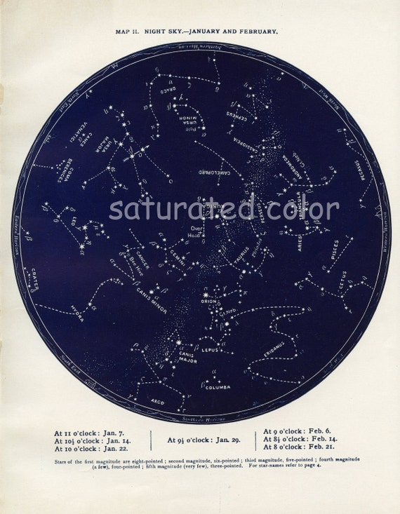 Jan / Feb Antique Constellations Star Chart Map -  Zodiac Map - Night Sky - Capricorn Aquarius Pisces - 1887 - Vintage