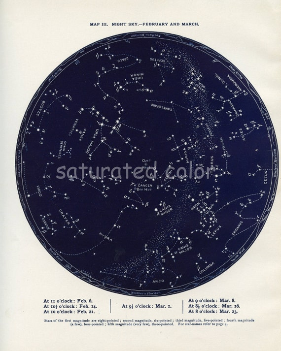 Feb / March Night Sky Constellations Star Chart Map - February & March - Zodiac Map - Aquarius Pisces Aries- 1887