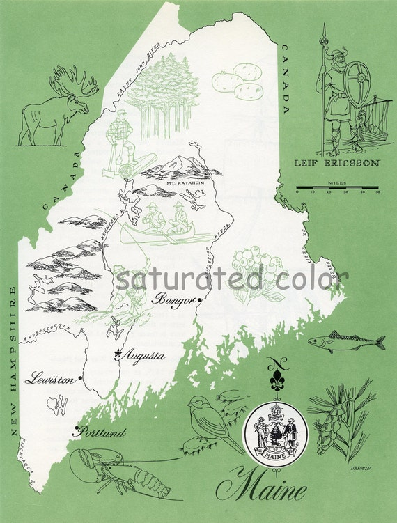 Maine Map - ORIGINAL Vintage 1960s Picture Map - Fun Retro Colors - Auburn Saco Biddeford West Scarborough Penobscot River Souvenir