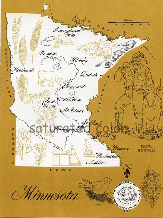Minnesota Map - ORIGINAL Vintage 1960s Picture Map - Fun Retro Colors - Bemidji Hibbing Duluth Brainerd Sauk Centre St. Paul Souvenir
