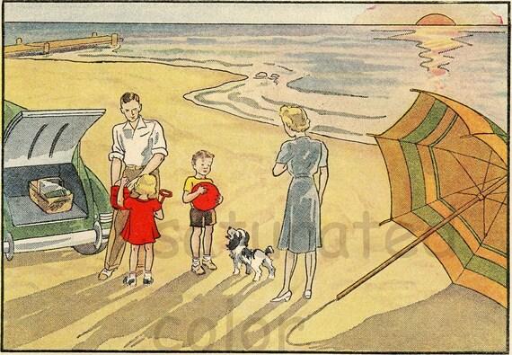Vintage Children's Beach Seashore Retro Illustration