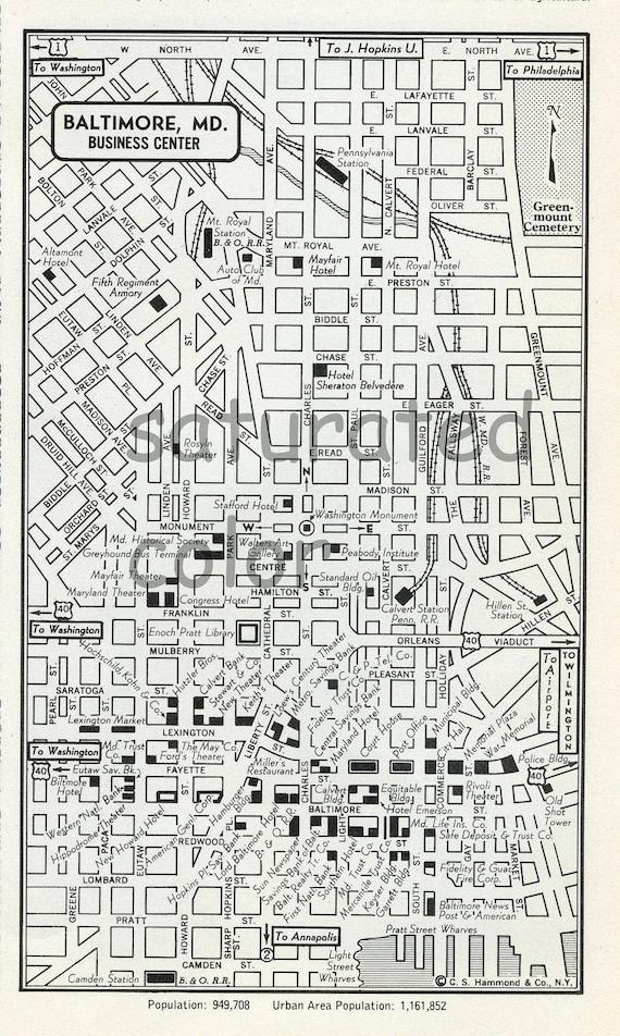 Baltimore Maryland MD Map - Vintage 1950s Original Heart of Baltimore MD - Wonderful Old  Landmarks & Details