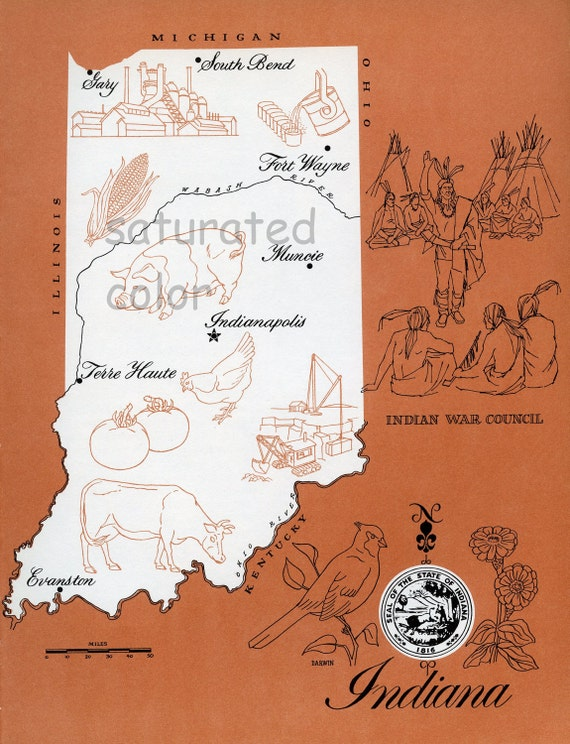 20% OFF ALL MAPS - Indiana Map - Vintage colorful illustrated map of Indiana - 1960s picture map - Fun Retro Colors