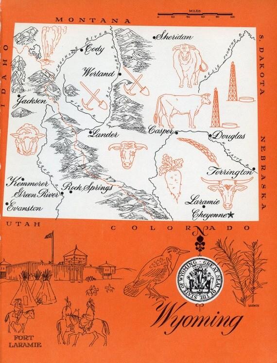Wyoming Map - ORIGINAL Vintage 1960s Picture Map - Fun Retro Colors - Evanston Jackson Douglas Casper Sheridan Worland Cody Lander Souvenir