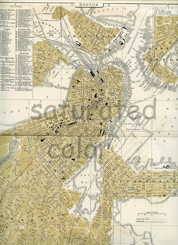 Boston Massachusetts MS Map Antique City Of By SaturatedColor
