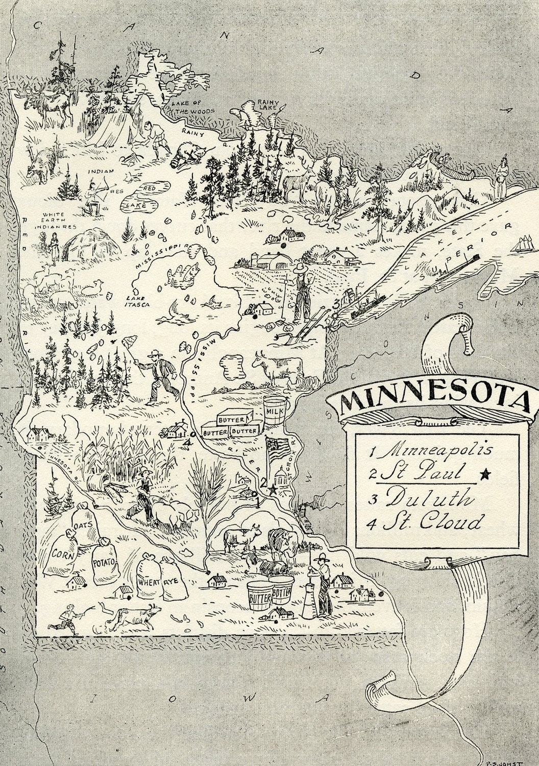 Minnesota Map ORIGINAL Vintage 1950s Picture Map 1950s Fun