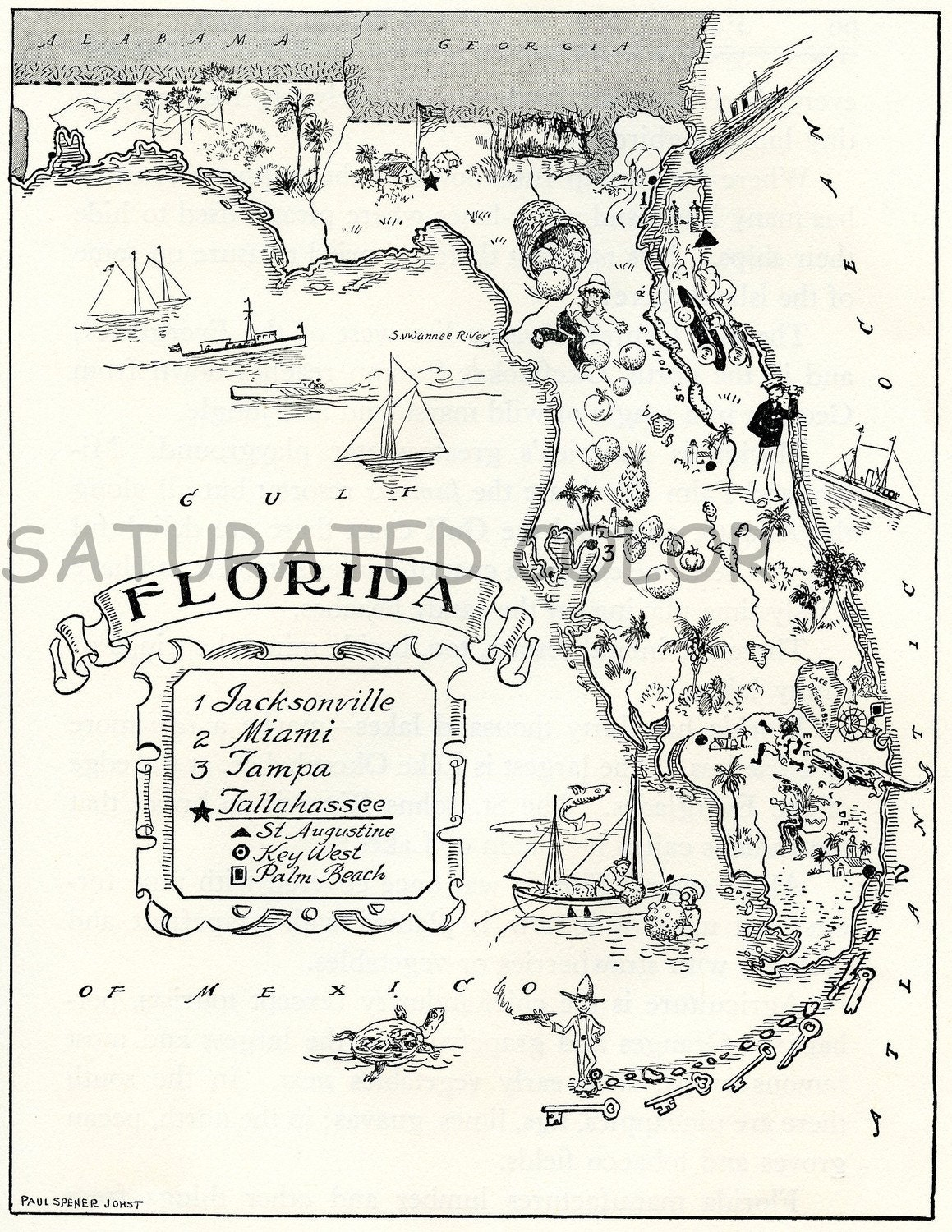 florida map a delightfully amusing original vintage picture