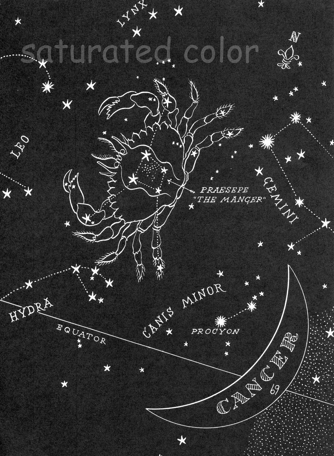 Cancer night sky star chart map zodiac constellation stars zoom nvjuhfo Image collections