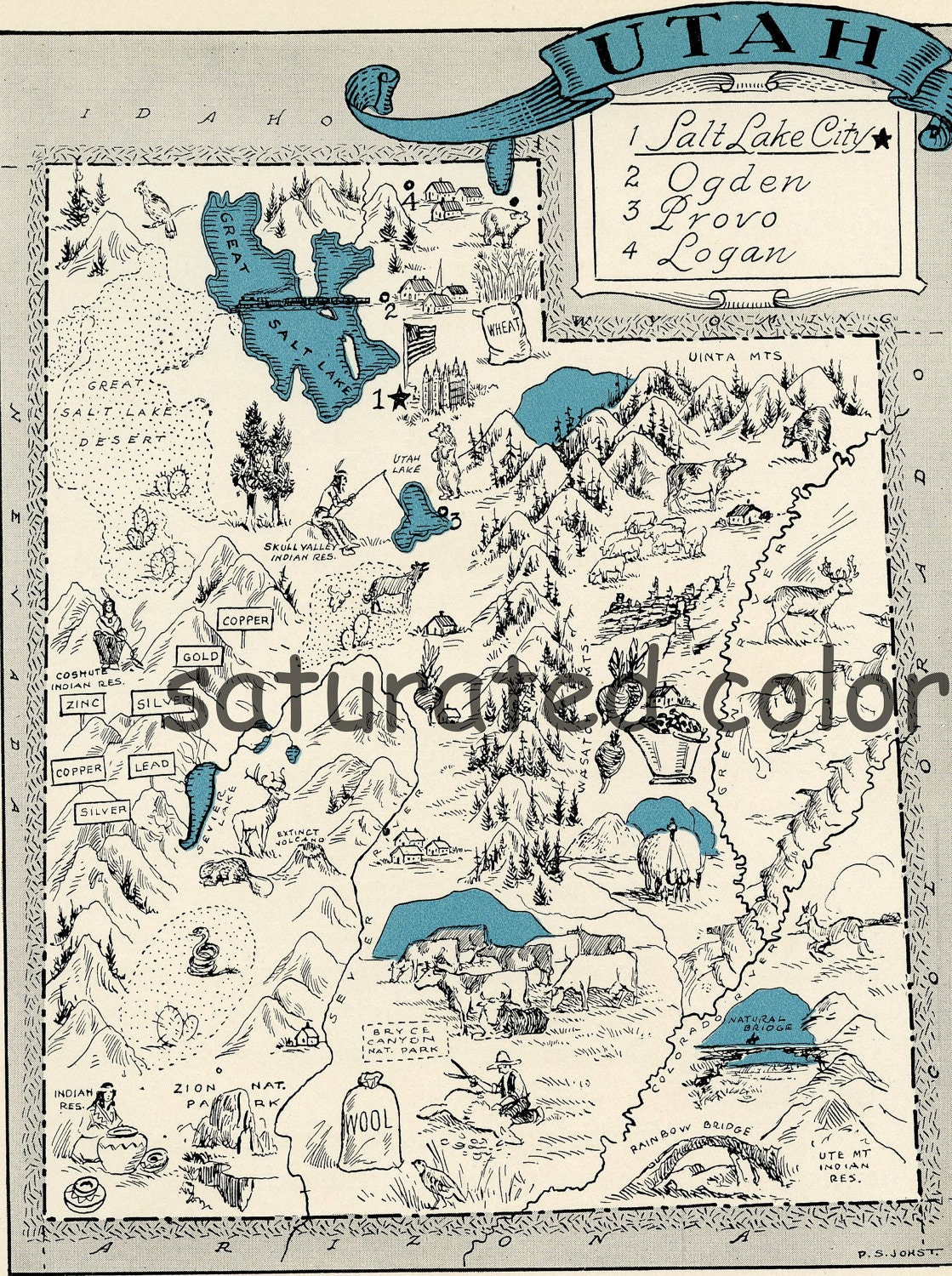 Antique Utah Map Etsy - Utah on a map of the usa