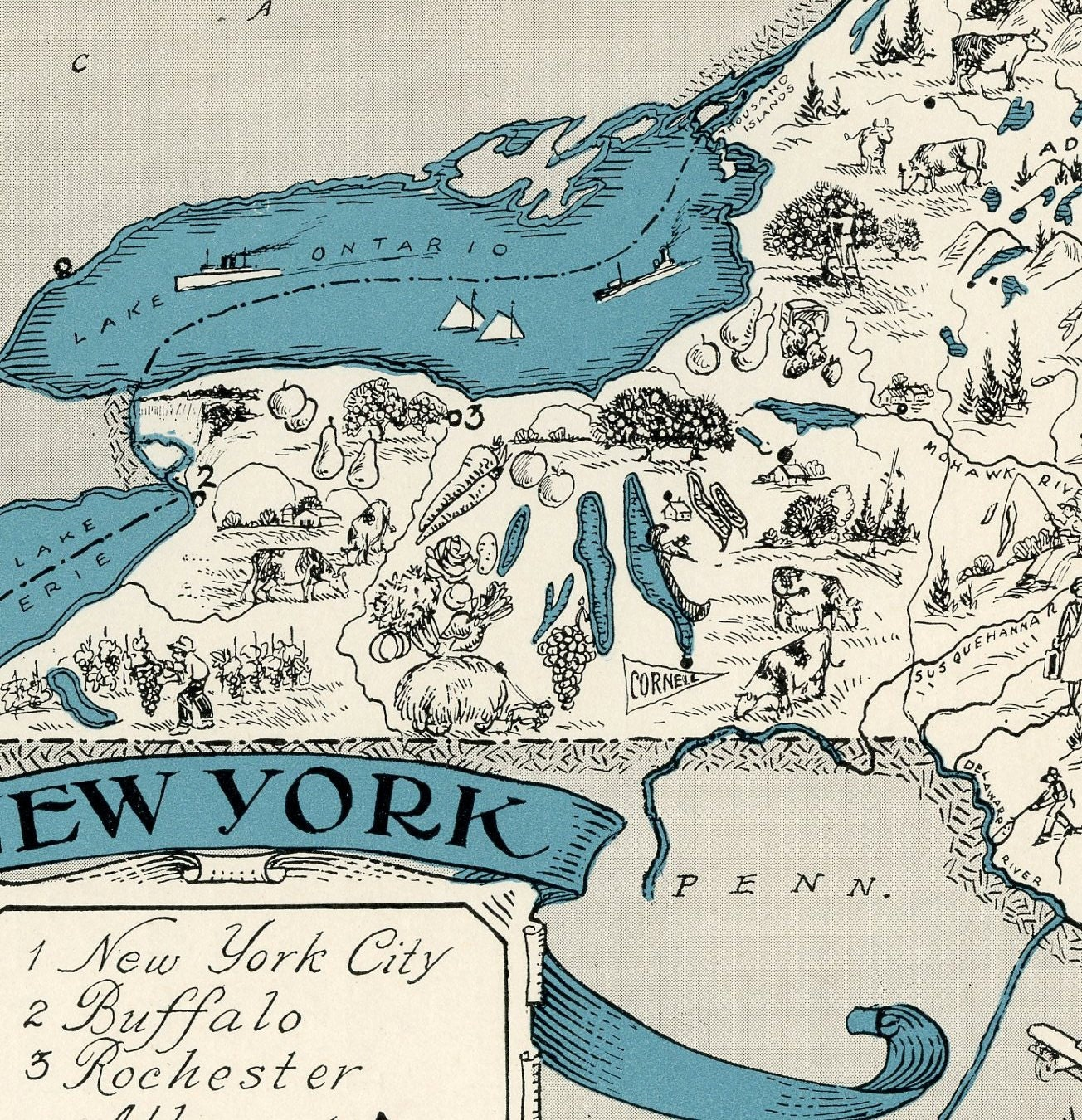 New York Map  ORIGINAL Vintage Picture Map Antique Map - Nyc map long island city