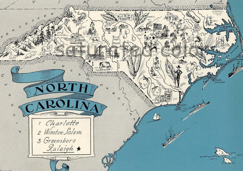 North Carolina Map Vintage High Res DIGITAL IMAGE Of A - Full map of north carolina