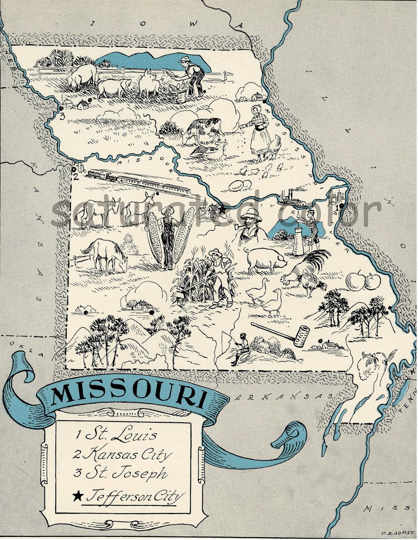 Missouri Map 1931 ORIGINAL Vintage Picture Map Antique