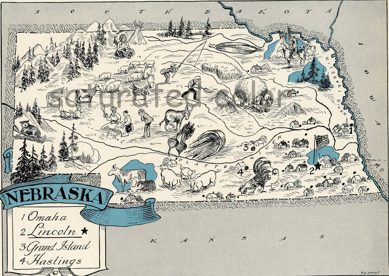 Nebraska Map 1931 ORIGINAL Vintage Picture Map Antique Map
