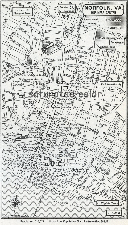 norfolk virginia va city map vintage 1950s original of