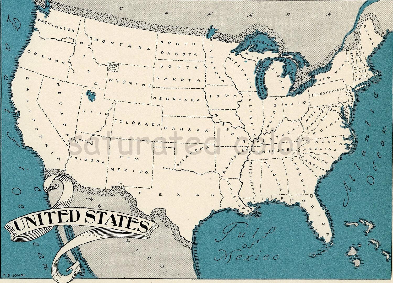 USA Map Map Art High Res DIGITAL IMAGE S Vintage - Vintage us map