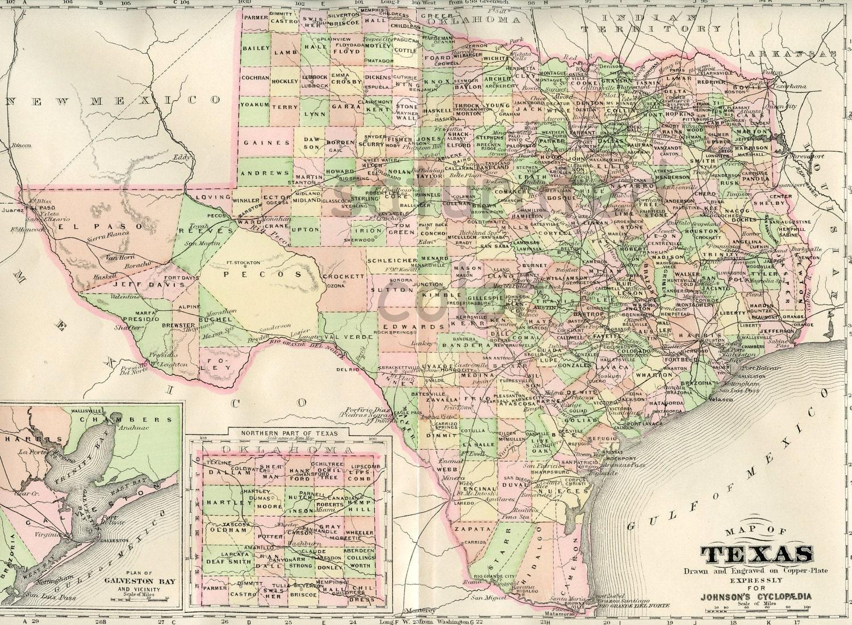 20 OFF ALL MAPS Texas Map Original 1895 Antique Vintage