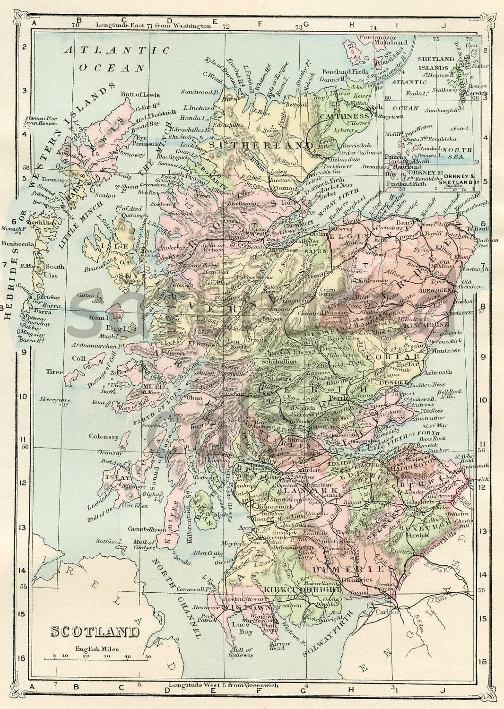 Scotland Map ORIGINAL Antique 1895 Map of Scotland  British Isles
