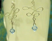 Juliet Earrings - aquamarine Swarovski crystals dangle from handshaped silver wire