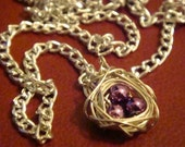 Songbird Necklace (Purple) - Purple beads handwrapped in a silver wire Bird's Nest RESERVED