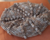 Pom Pom Bauble Slouchy Crocheted Hat in Mocha Brown and Slate Blue by Gosia