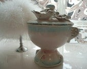 Vintage 1950's Betson Lidded Powder Jar with Bird and Flowers