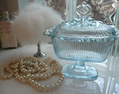 Vintage Icy Blue Indiana Glass Covered Vanity Dish for Bath Salts or Body Powder