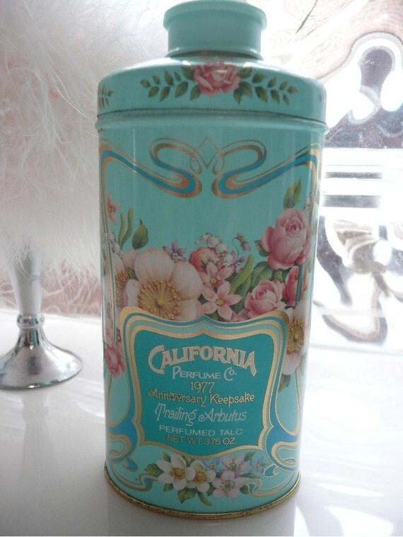 Vintage Avon 1977 California Perfume Company Talc Powder Tin