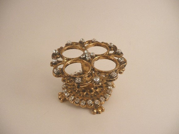Vintage Prong Set Rhinestone and Goldtone Lipstick Holder