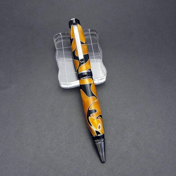Black Titanium Cigar Pen - Orange and Black