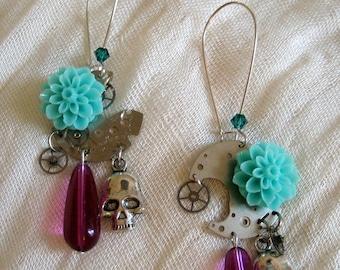Blue flower watchpart earrings