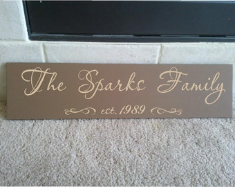 Beautiful 6x24 wooden board sign with Personalized family last name, and est date...