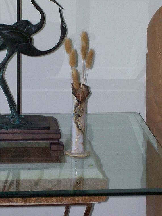 Small Organic Ceramic Vase White Earth Tone Pottery Rustic Clay Vessel