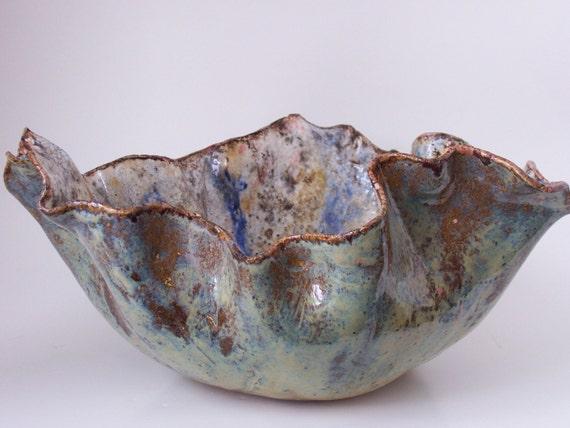 Blue Ceramic Centerpiece Art Bowl Multitone Abstract Pottery Vessel Clay Contemporary Decorative Dish