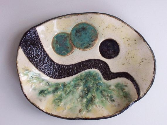 Abstract  Ceramic Art Tray Contemporary Green Black Pottery Clay Decorative Dish