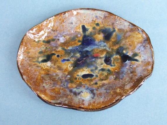 Small Ceramic Art Tray Abstract Deocorative Earth Tones Blue Clay Organic Rustic Pottery Vessel