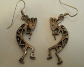 Vintage earrings, kokopelli earrings, Zuni rain dancers,sterling silver earrings, native american earrings