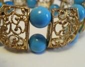 Vintage bracelet, stretchy bracelet, filigre bracelet, turquoise glass bracelet