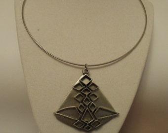 "Vintage pendant, signed ""Celebrity"" pendant, 1960s pendant, geometric necklace, modernist necklace"