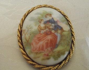 "Vintage brooch, ""Fragonard"" brooch ,brooch/pendant, 1940s porcelain brooch , signed brooch, vintage jewelry, jewellery"
