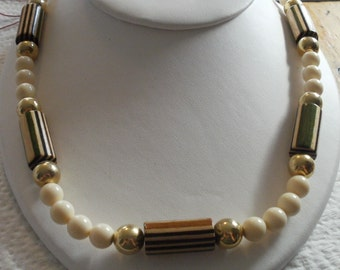"""Vintage necklace,1950s , wood,ivory colored glass, and golden bead ,22"""""""